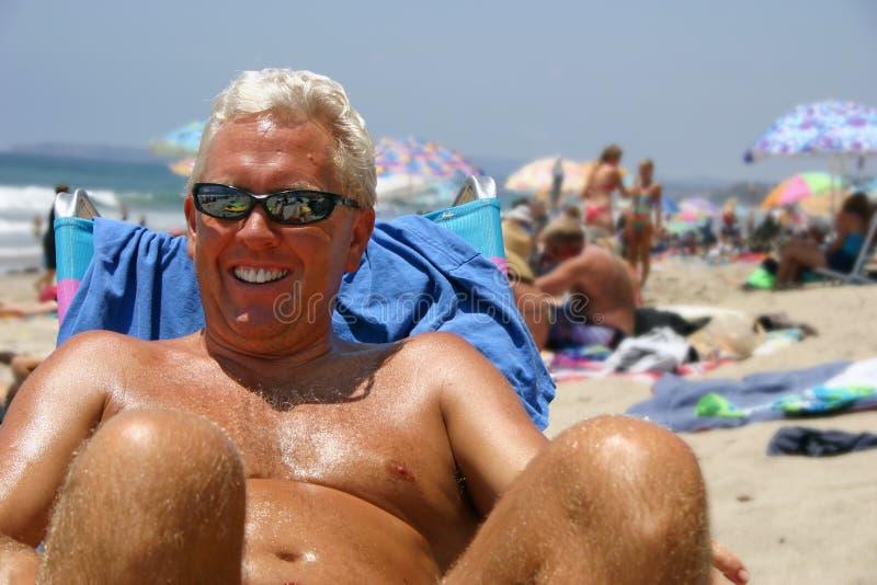 Homem da praia fotos de stock