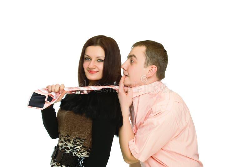 Download Homem Da Preensão Da Mulher Pela Gravata Foto de Stock - Imagem de igualdade, povos: 12806594