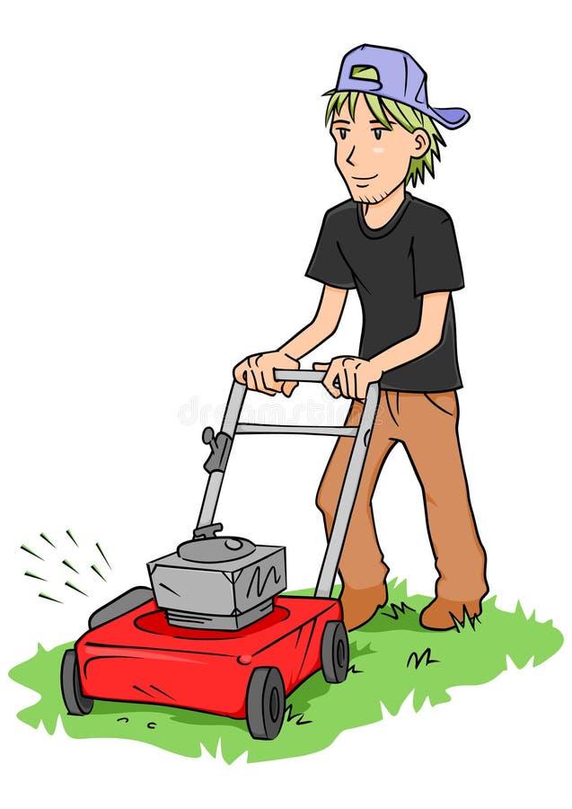 Homem da segadeira de gramado ilustração royalty free