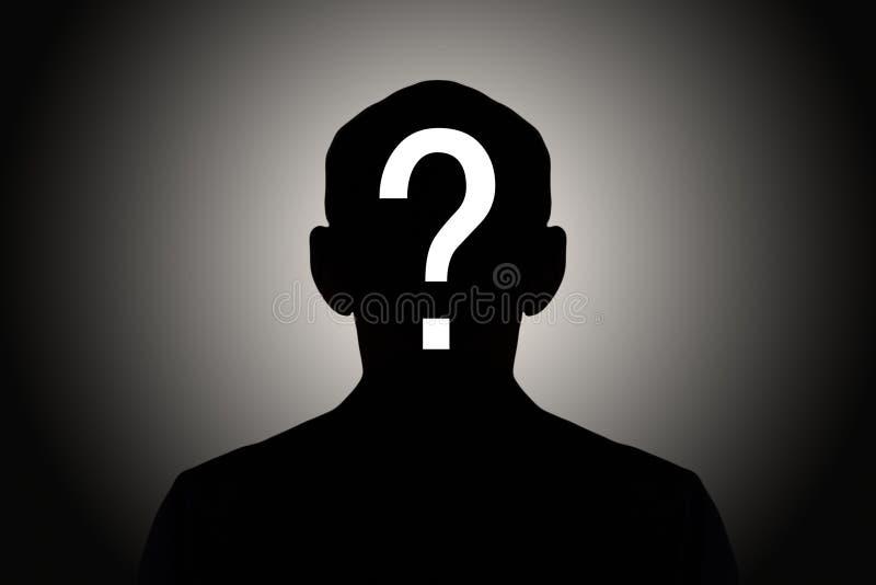 Homem da silhueta com ponto de interrogação fotos de stock royalty free