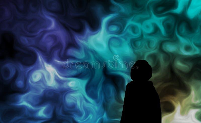 Homem da silhueta e céu estranho ilustração stock