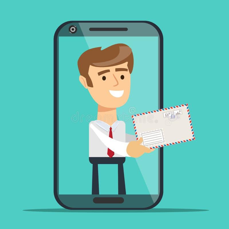 Homem da tela do smartphone que dá a mensagem nova Conceito do serviço do cargo Projeto liso da ilustração do vetor ilustração royalty free