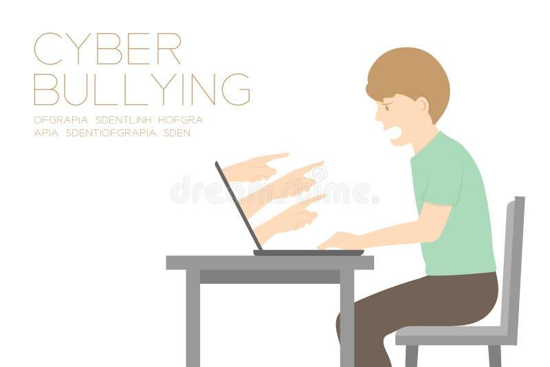 Homem da vítima do cyber social da rede do Internet da ilustração tiranizando da ideia, do portátil e do ódio da mão do conceito  ilustração royalty free