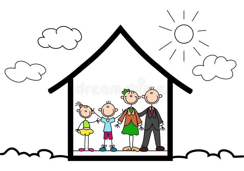 Homem da vara dentro de sua casa ilustração do vetor