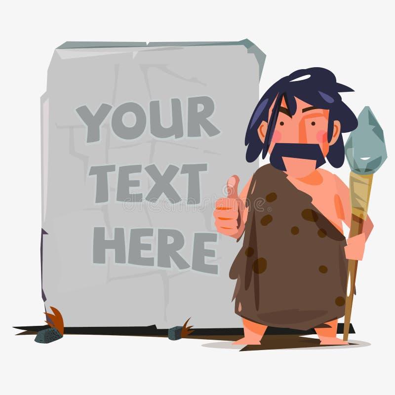 Homem das cavernas com a pedra enorme para substituir seu texto conceito da Idade da Pedra ilustração do vetor