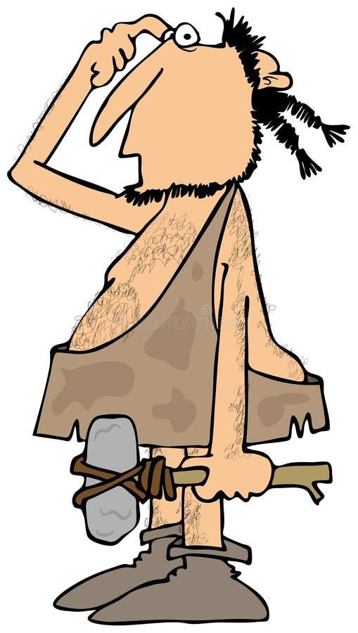 Homem das cavernas confuso com um martelo da rocha ilustração royalty free