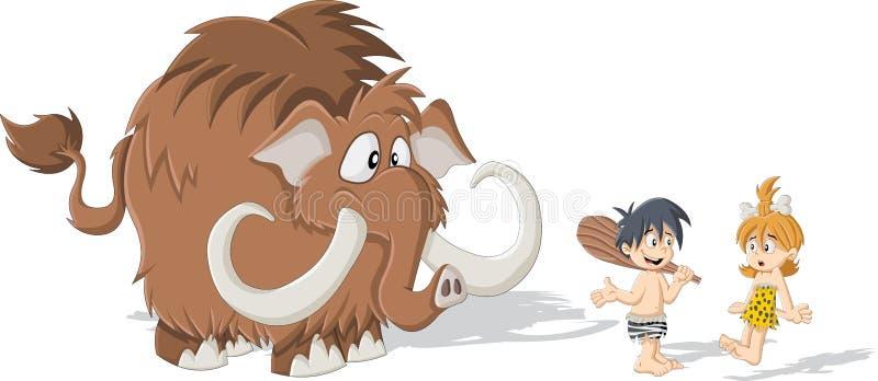 Homem das cavernas dos desenhos animados e mulher da caverna com um Mammoth ilustração royalty free