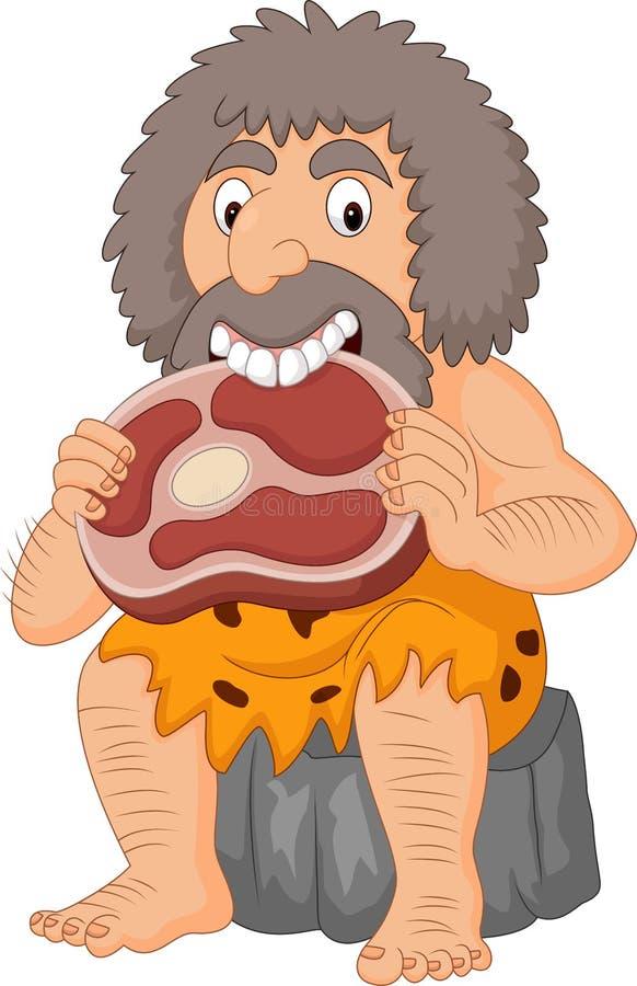 Homem das cavernas dos desenhos animados que come a carne ilustração do vetor
