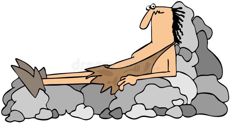 Homem das cavernas em um recliner da rocha ilustração do vetor