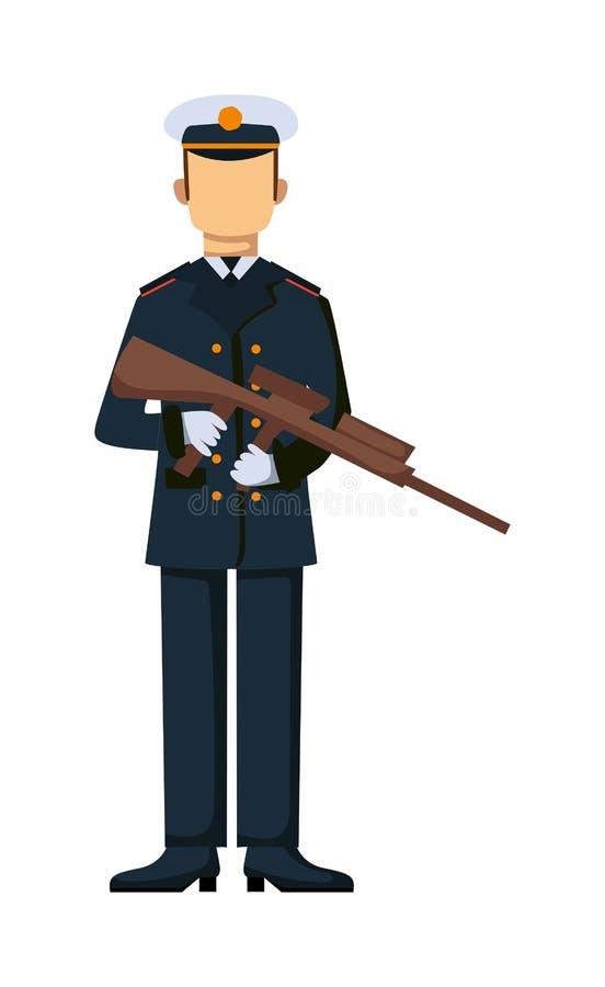 Homem das forças armadas da tropa dos EUA com ilustração da arma ilustração royalty free