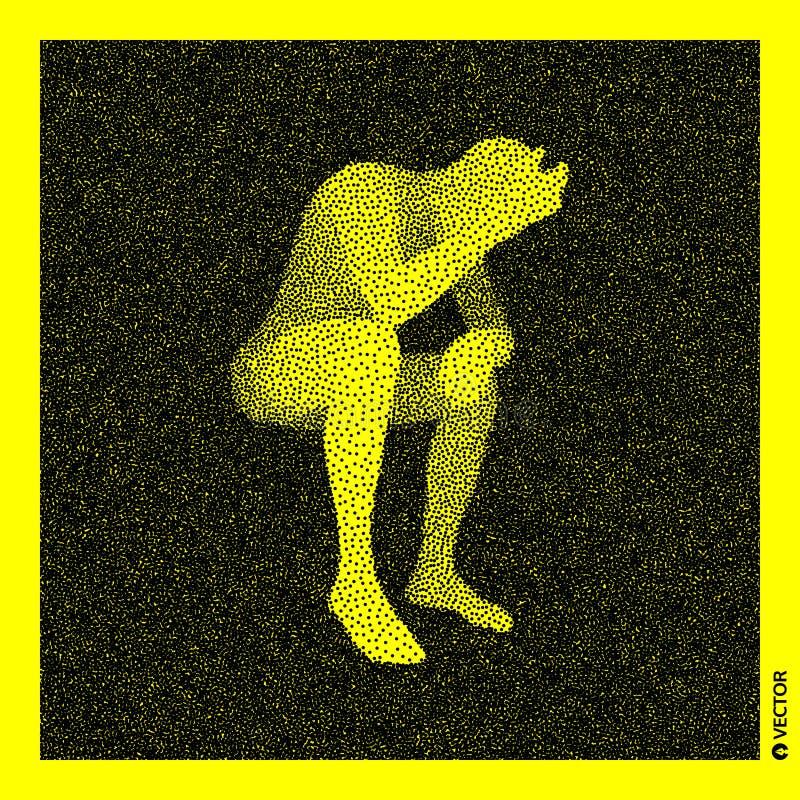 Homem de assento modelo do corpo 3D humano Projeto granulado preto e amarelo Ilustra??o pontilhada do vetor ilustração stock