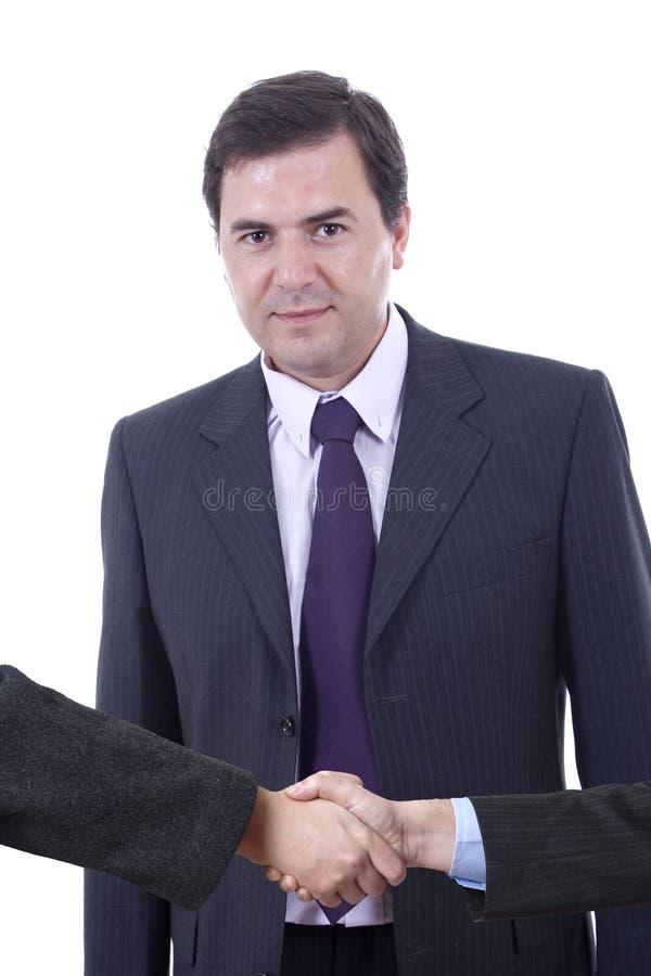 Homem de Bussiness que agita as mãos imagens de stock