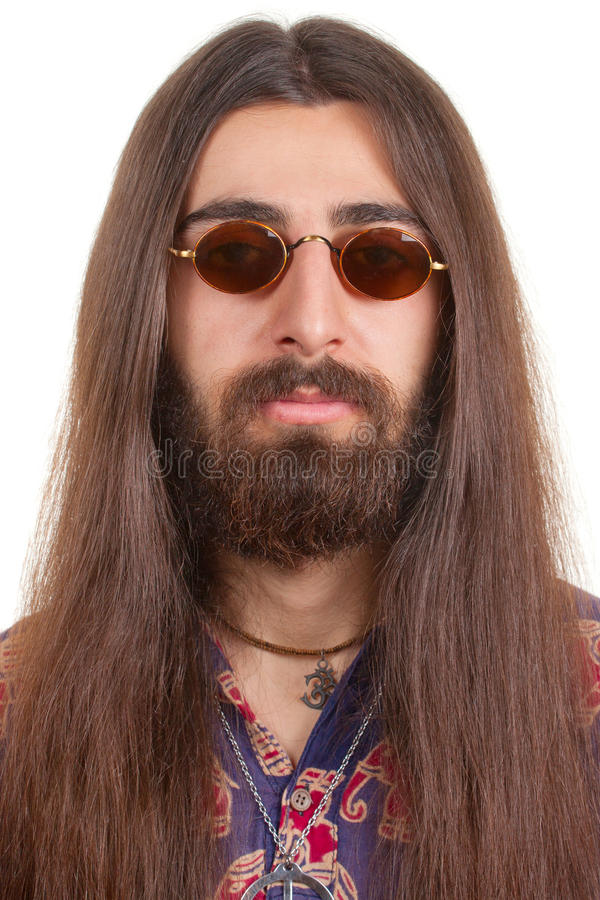Homem de cabelos compridos do hippie foto de stock