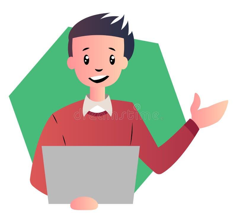 Homem de desenho animado com ilusão de vetor de laptop ilustração royalty free