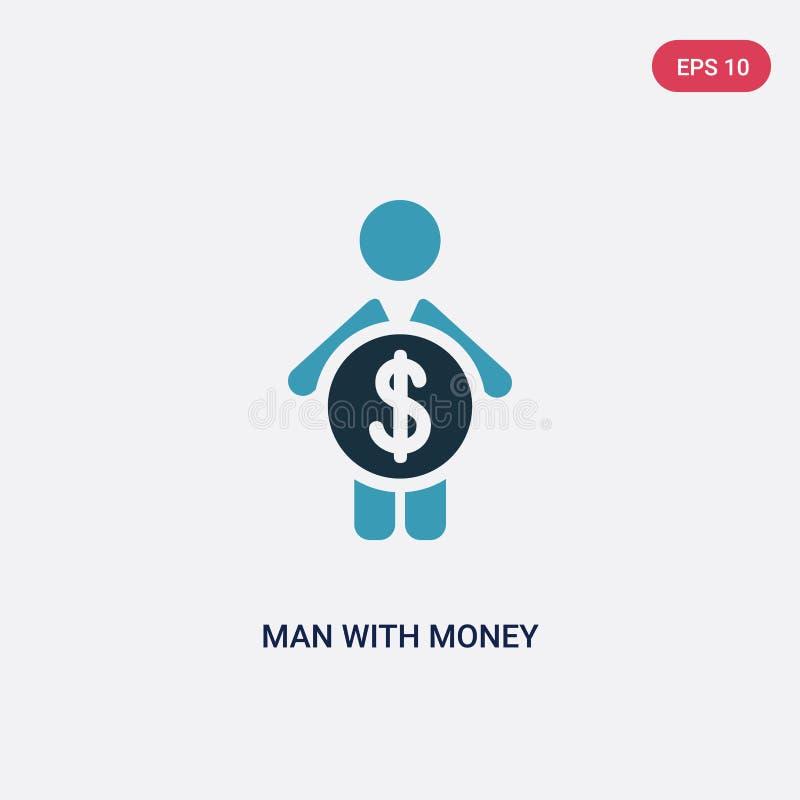 Homem de duas cores com ícone do vetor do dinheiro do conceito dos povos o homem azul isolado com símbolo do sinal do vetor do di ilustração stock