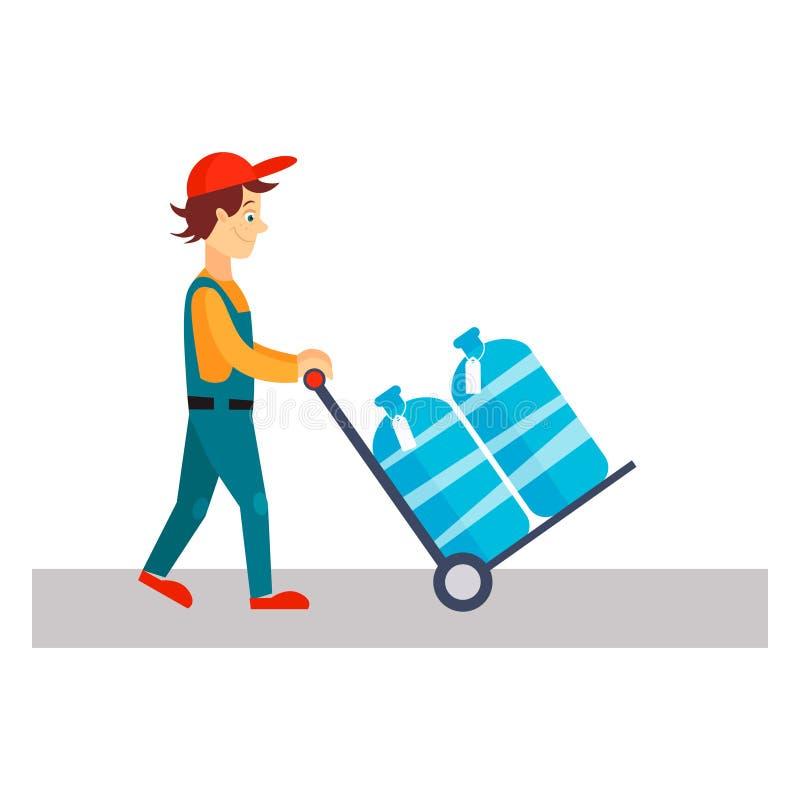 Homem de entrega com água, ilustração do vetor ilustração do vetor