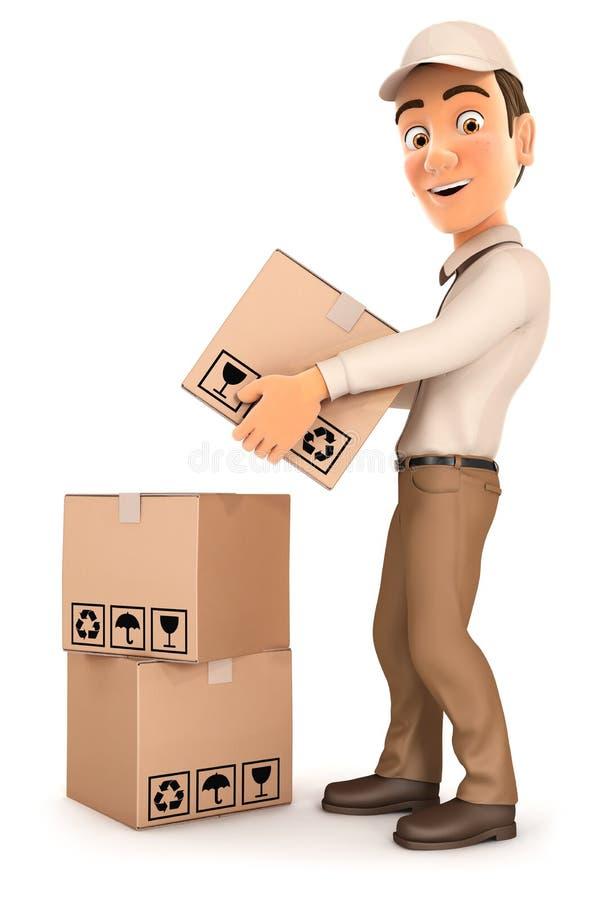 homem de entrega 3d que empilha pacotes ilustração royalty free