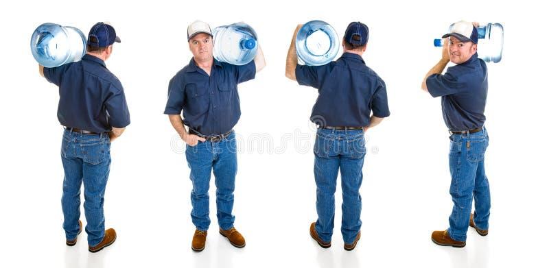 Homem de entrega da água - quatro vistas imagens de stock royalty free