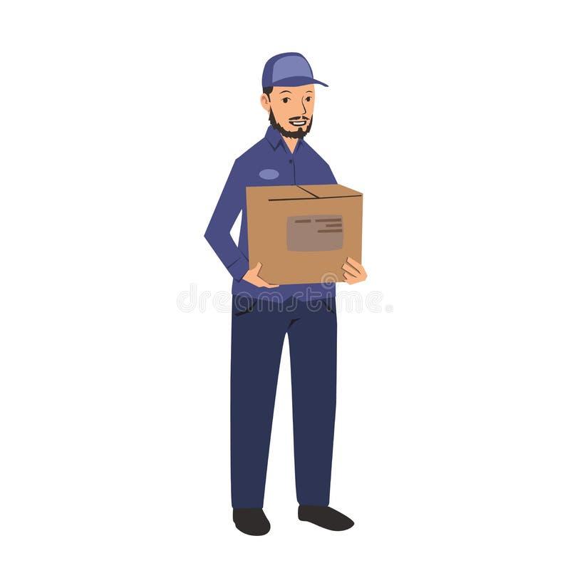 Homem de entrega no uniforme azul que guarda uma caixa Ilustração lisa do vetor Isolado no fundo branco ilustração royalty free