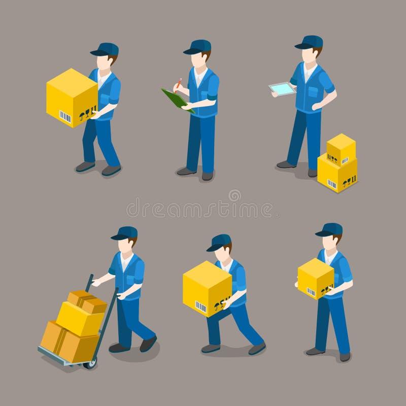 Homem de entrega no vetor 3d isométrico liso do pacote de trabalho ilustração stock