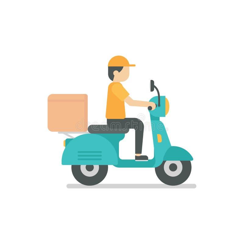 Homem de entrega que monta uma ilustração azul do 'trotinette' ilustração do vetor