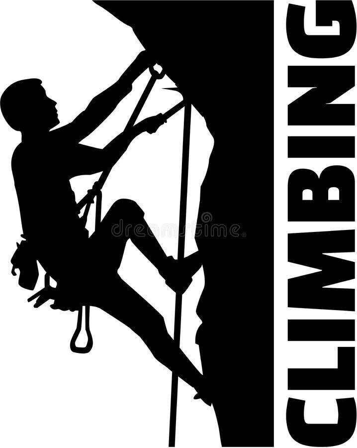Homem de escalada extremo com palavra ilustração do vetor