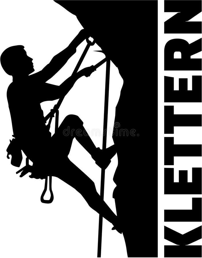 Homem de escalada extremo com palavra alemão ilustração royalty free