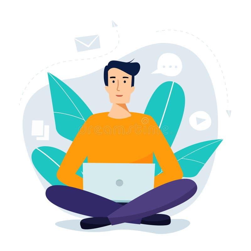 Homem de funcionamento que senta-se com computador Conceito social da rede ilustração do vetor