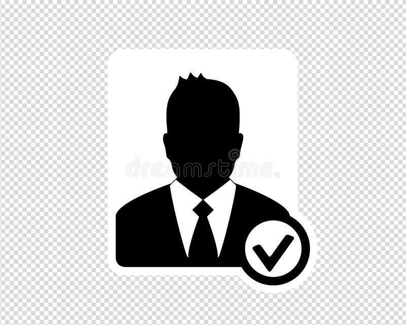 Homem de negócio, ícone aceitado da conta, ícone do Avatar - ilustração do vetor isolada no fundo transparente ilustração royalty free