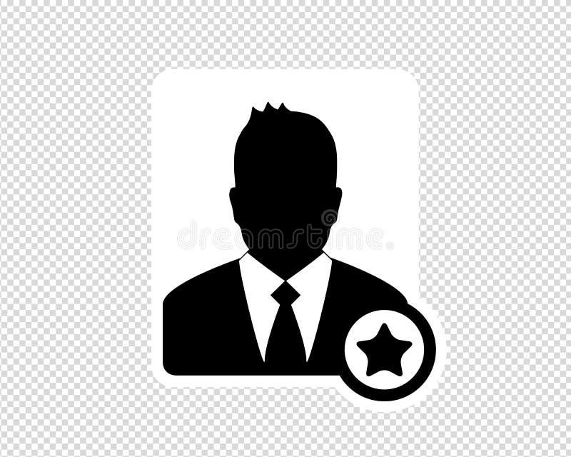 Homem de negócio, ícone favorito do usuário, ícone do Avatar - ilustração do vetor isolada no fundo transparente ilustração stock