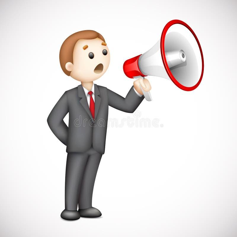 homem de negócio 3d com o megafone no vetor ilustração royalty free