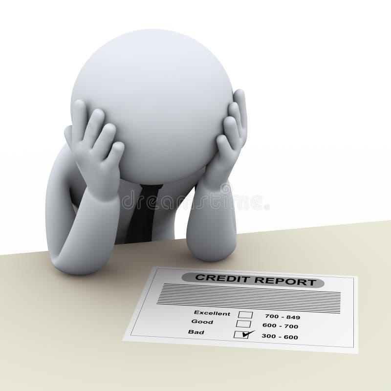 homem de negócio 3d e relatório de crédito ruim ilustração royalty free