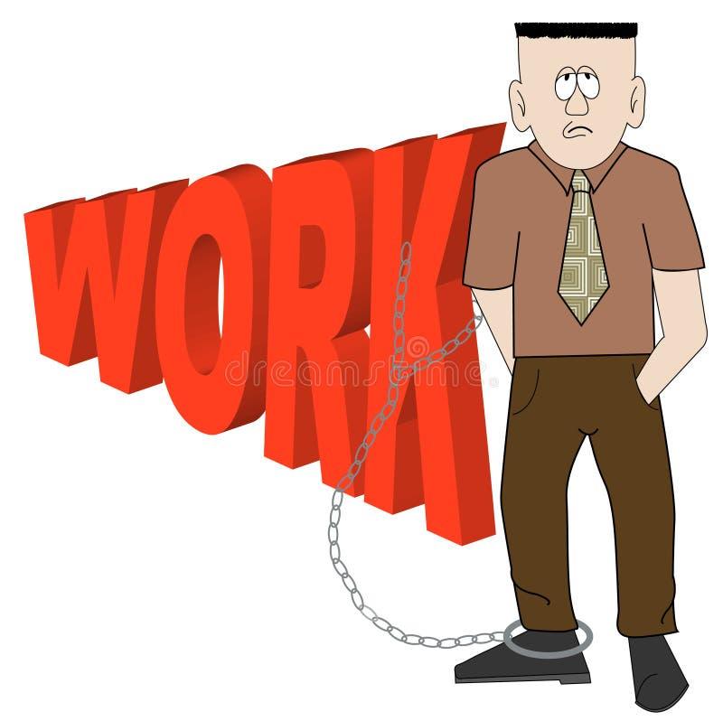 Homem de negócio acorrentado para trabalhar ilustração stock