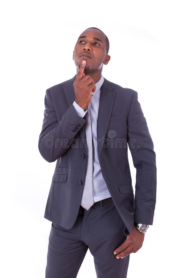 Homem de negócio afro-americano sobre o fundo branco - peop preto imagem de stock