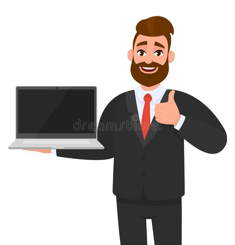 Homem de negócio alegre que guarda ou que mostra um PC e gesticular novos os mais atrasados do laptop do tipo, fazendo os polegar ilustração do vetor