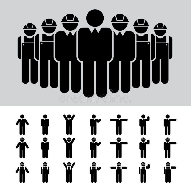 Homem de negócio, arquiteto, coordenador, trabalhador, ico ilustração stock