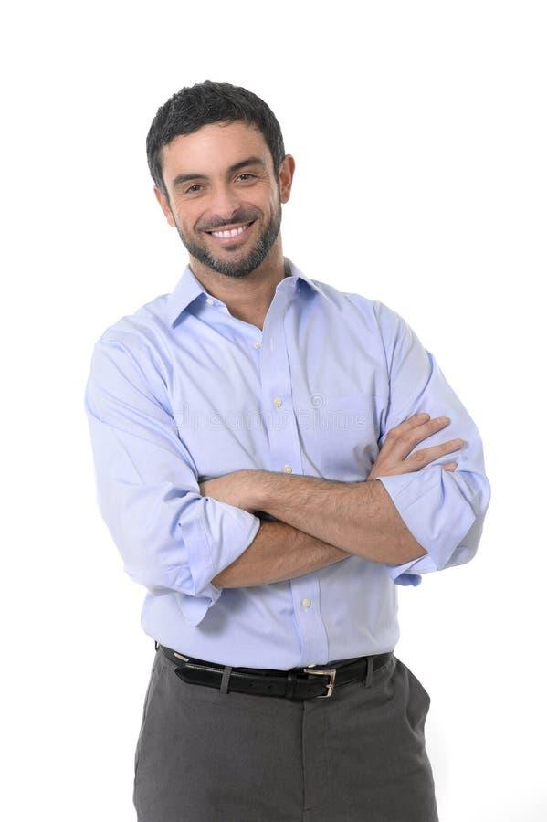 Homem de negócio atrativo novo que está no retrato incorporado isolado no fundo branco imagens de stock royalty free