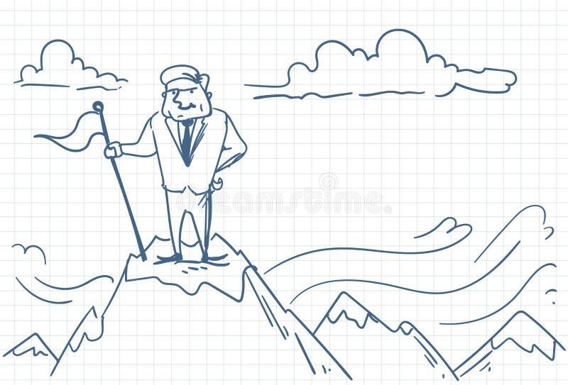 Homem de negócio bem sucedido que põe a bandeira sobre a garatuja da parte superior da montanha ilustração do vetor
