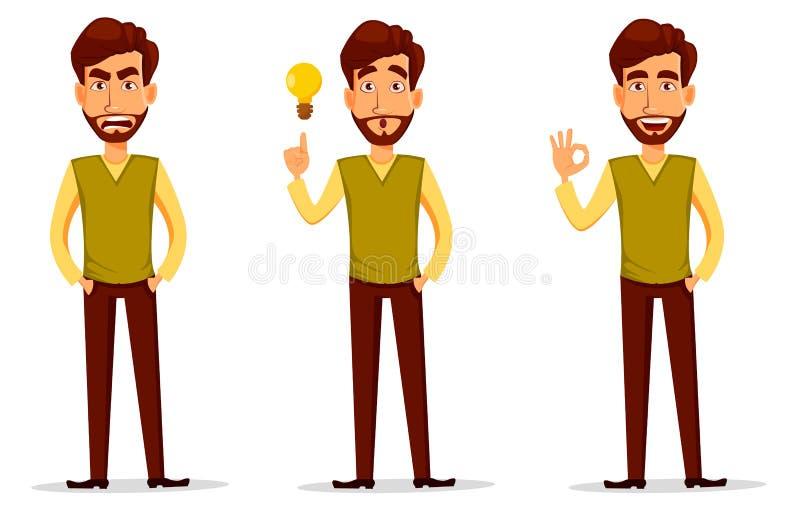 Homem de negócio com barba, jogo de caracteres dos desenhos animados ilustração royalty free