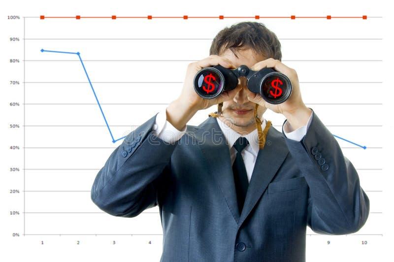 Homem de negócio com binóculos fotos de stock royalty free