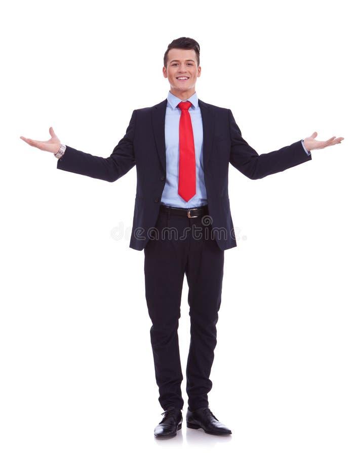 Homem de negócio com braços abertos imagem de stock