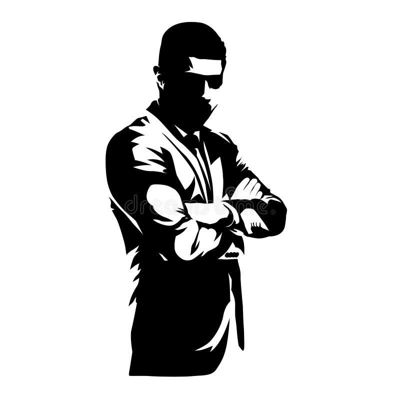 Homem de negócio com braços dobrados, pessoa no trabalho ilustração royalty free