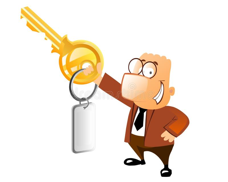 Homem de negócio com chave ilustração do vetor