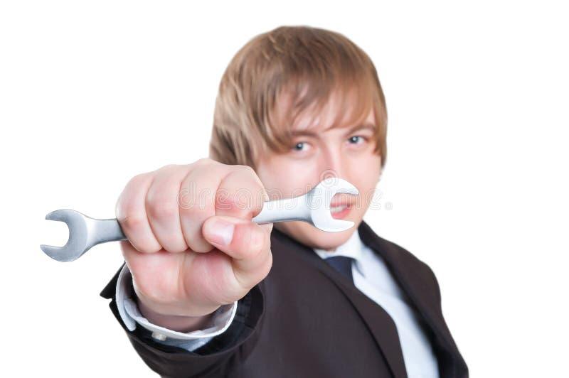 Homem de negócio com chave fotografia de stock royalty free