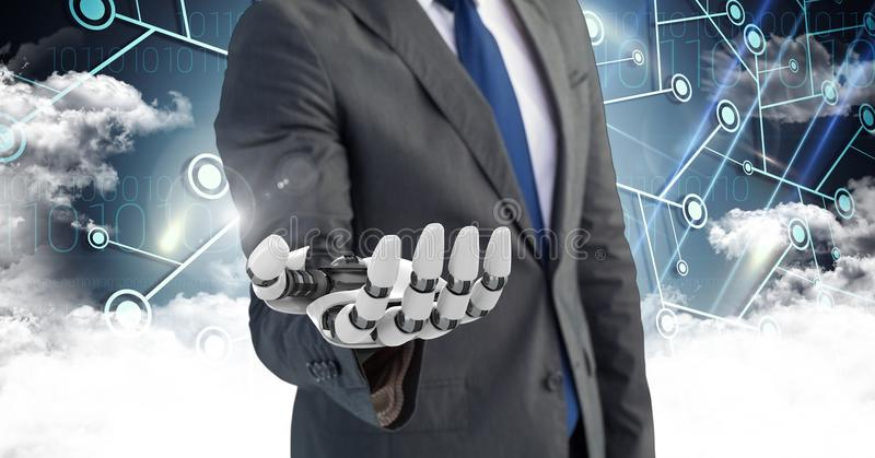 Homem de negócio com mão do robô com as nuvens no fundo ilustração stock