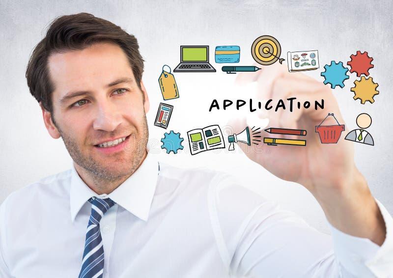 Homem de negócio com o marcador atrás das garatujas da aplicação e alargamento contra a parede branca ilustração stock
