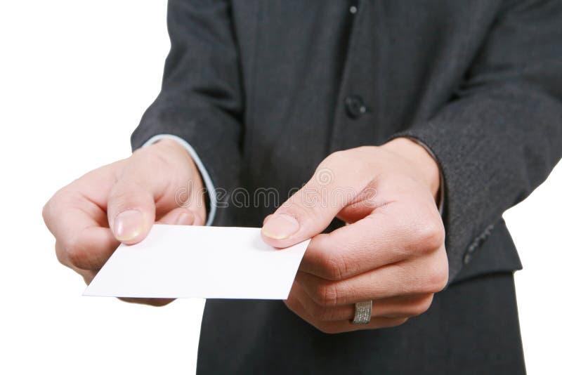 Homem de negócio com placa branca imagem de stock