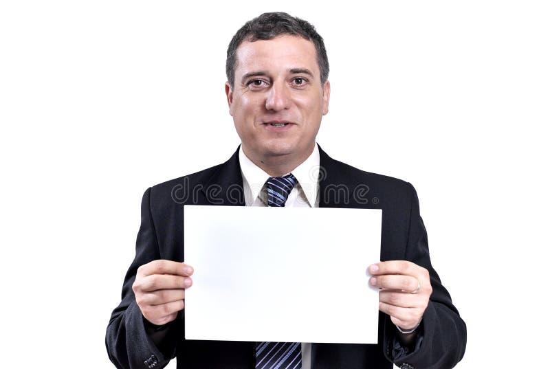 Homem de negócio com um papel nas mãos foto de stock royalty free