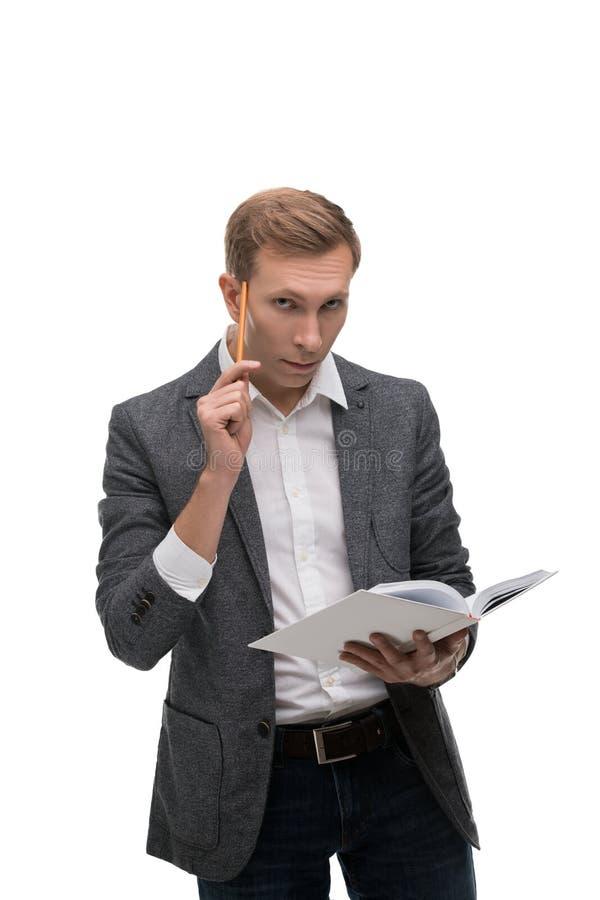 Homem de negócio com um retrato thoghtful do olhar foto de stock royalty free