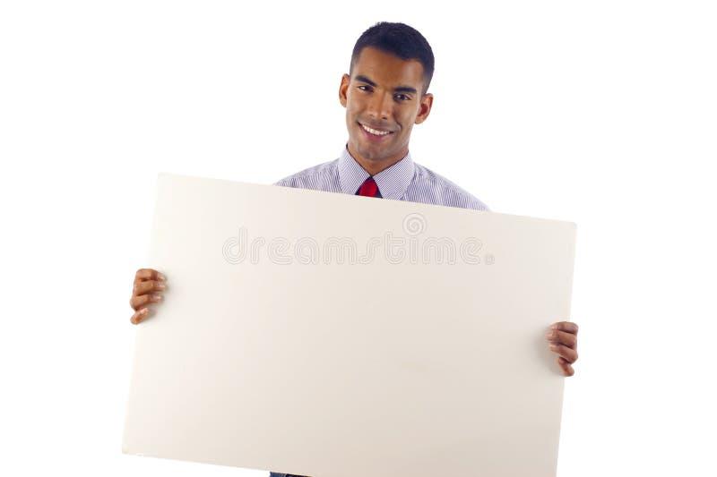 Download Homem De Negócio Com Uma Bandeira Foto de Stock - Imagem de advert, apontar: 12801840
